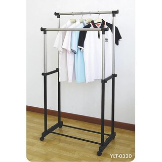 Double Pole Telescopic Cloth Drying Stand Rack