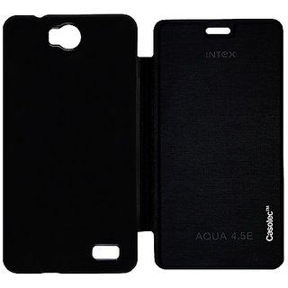 Casotec Premium Flip Case Cover for Intex Aqua 45E - Black