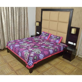 Shop Rajasthan 100 Cotton Polka  Printed Double Bed Sheet With 2 Pillow Covers - (Sra3060)