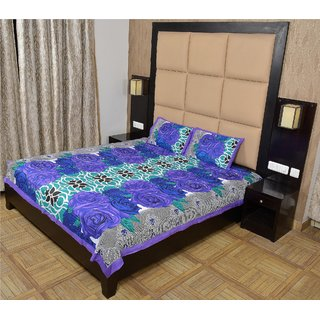 Shop Rajasthan 100 Cotton Printed Double Bed Sheet With 2 Pillow Covers - (Sra3065)
