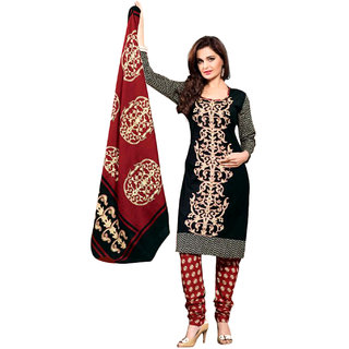 Drapes Black Cotton Embroidered Salwar Suit Dress Material