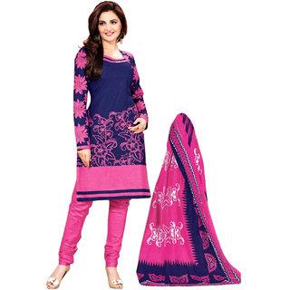 Drapes Pink And Blue Cotton Plain Salwar Suit Dress Material