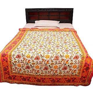 Halowishes Jaipuri Gold Print Floral Design Cotton Single Bed Duvet Dohar -602