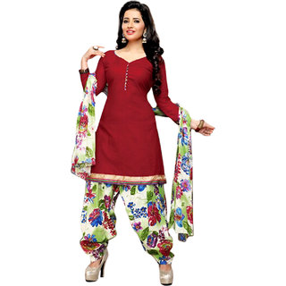 Drapes Maroon Cotton Plain Salwar Suit Dress Material