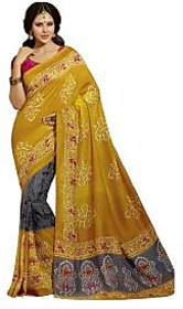 Bhavi Grey Georgette Embroidered Saree Without Blouse