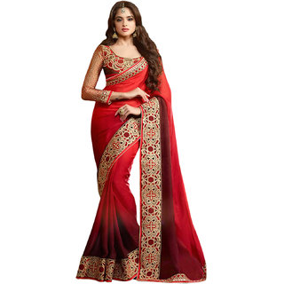 Red All Over Jacquard shaded Embroidery  Saree