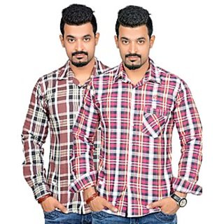 True Fashion Mens Multicolor Regular Fit Casual Shirt (Combo Of 2)