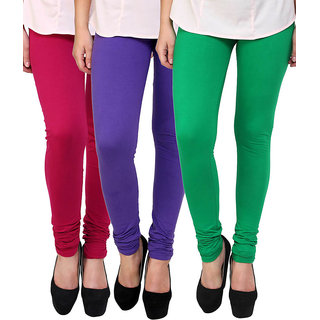 Stylobby Maroon Purple Green Cotton Lycra Pack Of 3 Leggings