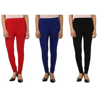 Stylobby Red Blue Black Cotton Lycra Pack Of 3 Leggings
