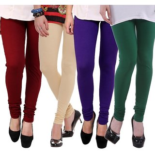 Stylobby Multi Color Cotton Lycra Pack Of 4 Leggings (Maroon-Beige-Purple-Green)