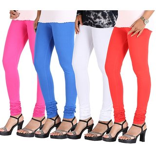 Stylobby Multi Color Cotton Lycra Pack Of 4 Leggings