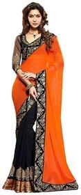 Abhinal Fashion Peach Brocade Self Design Saree With Blouse