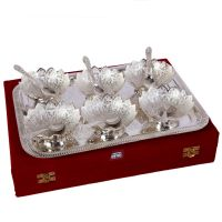 German Silver Set Of 6 Lotus Shape Bowls With 6 Spoons And Tray 4555