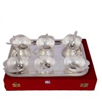 German Silver Set Of 6 Apple Shape Bowls With 6 Spoons And Tray 4557