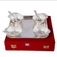 German Silver Set Of 4 Apple Bowls With 4 Spoons And Tray 4566