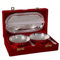 German Silver Set Of 2 Bowls With 2 Spoons And Tray 4574