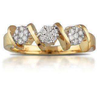 Vestern Vivian 18k Gold 21 Stone Designer Diamond Ring in 0.22cts