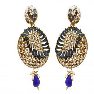My Design blue meenakari stone hanging earring