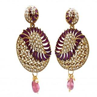 My Design purple meenakari stone hanging earring