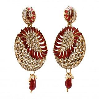 My Design maroon meenakari stone hanging earring