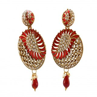 My Design red meenakari stone hanging earring