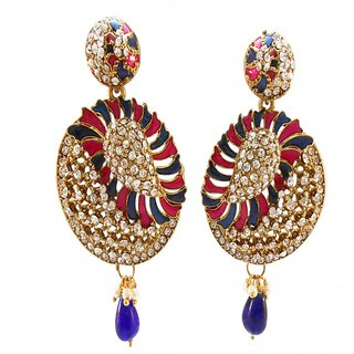 My Design blue rani meenakari stone hanging earring