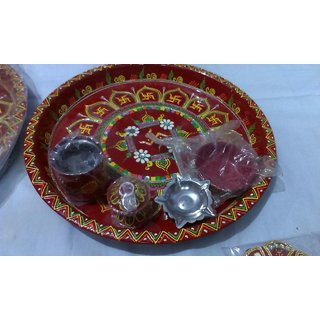 cone work puja thali.