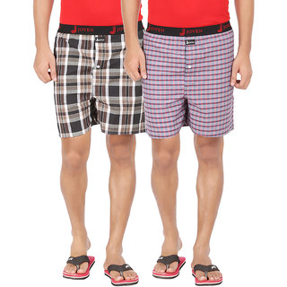 Joven Men's Cotton Checkered Multicolor Boxer-T004