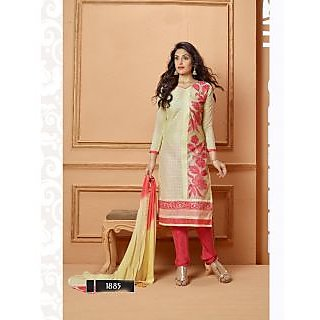 Thankar Light Yellow And Red Embroidered Chanderi Cotton Straight Suit
