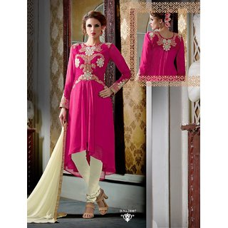 Thankar Latest Designer Pink And Cream Straight Suit (Unstitched)