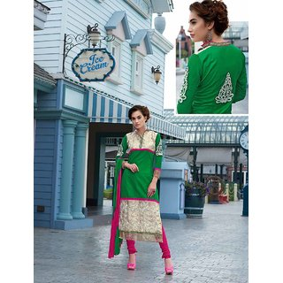 Thankar Green And Off White Embroidered Cotton Straight Suit