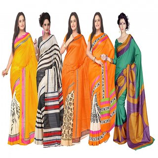 Combo of 5 Florence Multi Colour Bhagalpuri Silk Saree (febbhagalpuri9)