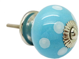 SPOTTED ROUND LIGHT BLUE CERAMIC KNOB (PACK OF 4)