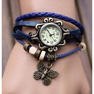 Round Dial Blue Leather Strap Womens Quartz Watch
