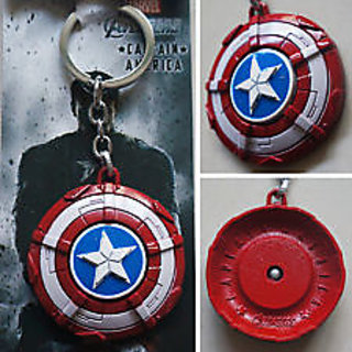 New Marvel The Avengers Captain America Shield 3D Logo Red 5cm Metal Keychain