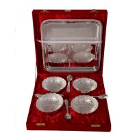 German Silver Set Of 4 Bowls With 4 Spoons And Tray 4579