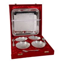German Silver Set Of 4 Bowls With 4 Spoons And Tray 4591