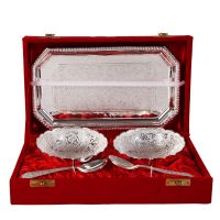 German Silver Set Of 2 Round Shape Bowls With 2 Spoons And Tray 4593
