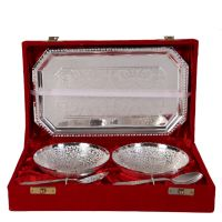 German Silver Set Of 2 Round Shape Bowls With 2 Spoons And Tray 4595