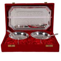 German Silver Set Of 2 Round Shape Bowls With 2 Spoons And Tray 4603