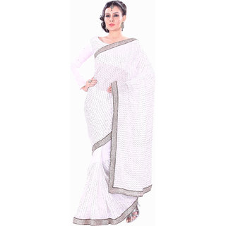 Florence White Party Wear Georgette Embroidered Saree (FL-10072)