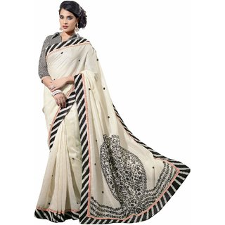 Florence White Party Wear Silk Printed Bhagalpuri Saree (FL-10082)