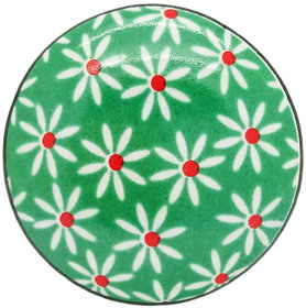 DAISIES BED GREEN CERAMIC KNOB (PACK OF 4)