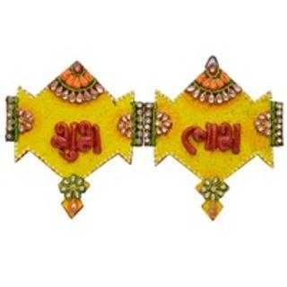 Wooden & Paper Mache Kite Shape Shubh-Labh With Kundan Work 1906