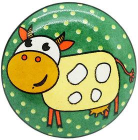 GREEN CLARISSA COW CERAMIC KNOB (PACK OF 4)