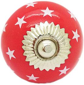 STARS ROUND RED CERAMIC KNOB (PACK OF 4)
