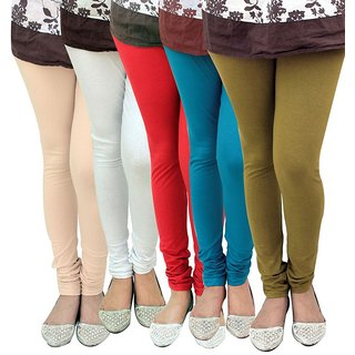 Stylobby Multicolor Cotton Lycra Pack of 5 Leggings