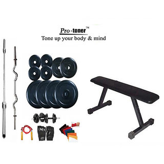PROTONER Weight Lifting Home Gym 58 Kg+Flat Bench+4 Rods(1 Zig Zag)+Accessories