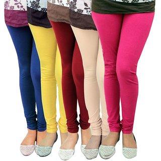 Stylobby Multicolor Cotton Lycra Pack Of 5 Leggings