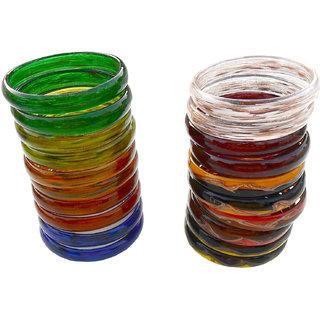 Handmade Glass Colorful Bangle Combo-2.8
